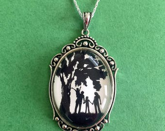 ANOTHER DAY in the PARK Necklace - pendant on chain - Silhouette Jewelry