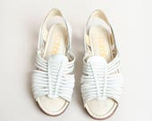 Vintage White Huaraches - Leather Woven Flat Sandals - Hippie Boho Bohemian Gypsy - Open Toe and Heel - Size 7