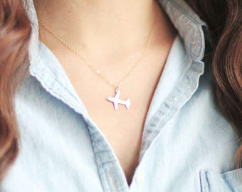 Tiny Airplane Necklace - Brass | Sterling Silver | 14k Gold Filled