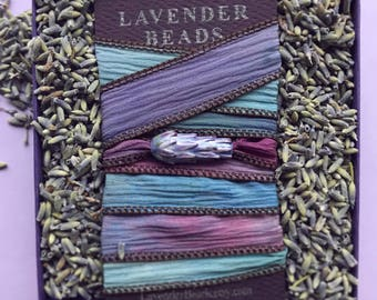 Lavender Silk Wrap Bracelet, Botanical Jewelry inspired by Lavender Fields in Gift Box with Lavender Sachet Buds, Adjustable, Boho Yoga cuff