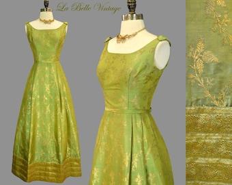 Green Sari Silk Dress XS Vintage 60s Gold Embroidered Brocade Ballgown