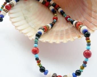 Artisan Handcrafted Turquoise Red Coral Lapis Blackstone Multi Colored Picasso Glass Bone Sterling Silver OOAK Tribal Boho Funky Necklace