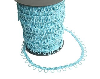 Bead Blue Adjacent Elastic Bridal Button Looping Trim - Ready to use Wedding Button Holes