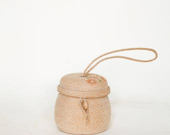 Vintage Straw Purse --- 1960s Italian Handbag