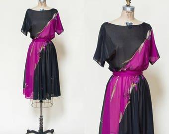 1970s Iris Dress --- Vintage Black Dress