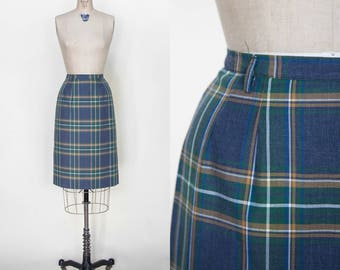 Vintage 1960s Blue Plaid Pencil Skirt XS