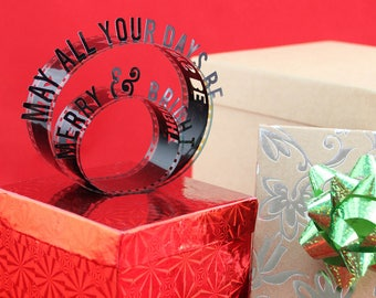 May All Your Days Be Merry & Bright - Film Reel Gift Packaging Bow - Pop Up Letters Word Loop - Repurposed Movie Film Strips - Gift Topper