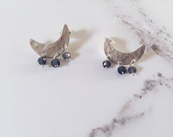 Sterling silver crescent moon stud earrings, blue iolite gemstones, night sky earrings, celestial minimal moon earrings