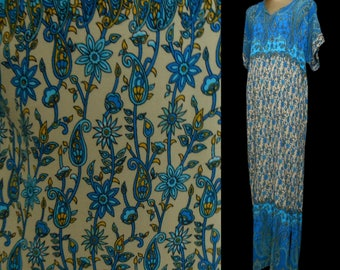 Vintage 70s Maxi Dress, 1970s Hippie Boho East Indian Abstract Block Print Blue Cotton Caftan, Size L to XL