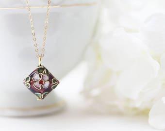Cloisonne Pendant Tiny Flower Necklace Enamel Necklace