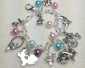 Bunnies Charm Bracelet.  Bunnies. Rabbits. Rabbit Charm Bracelet. Charm Bracelet