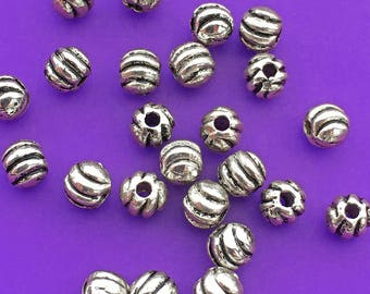 24 Ribbed Round Beads, Antique Silver Tone, about 4mm x 4mm with a 1.5mm hole - TS460B