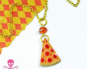 PIZZA - By The Slice Charm Necklace - Hand Painted Peruvian Bead