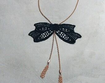 black bow necklace | ABERDEEN | tassel necklace, gift jewelry, preppy, feminine, girly, victorian, bowtie, girlfriend gift, valentine gift