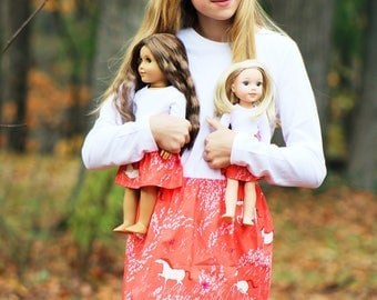 Matching Girl Doll Clothes fits American Girl Doll OR Wellie Wisher - Horses in Meadow Skirts, Sizes 1T, 2T, 3T, 4T, 5T, 6, 7, 8, 10, 12, 14