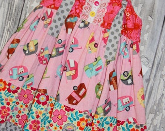 Going out of business SALE, girls knot dress ,camping dress, size 2T girls dress, Ready to ship