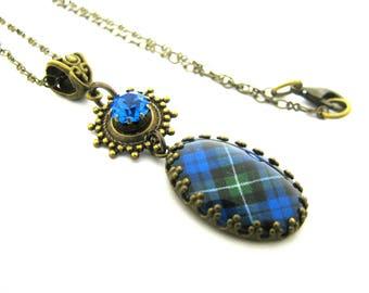 Scottish Tartan Jewelry - Campbell of Argyll Clan Tartan Crown Edge Bezel Necklace w/35SS Light Sapphire Tiffany Set Charm