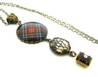 Scottish Tartan Jewelry - Ancient Romance Series - Stewart Black Tartan Necklace w/Luckenbooth Charm & Rhinestone Szech Glass Bead