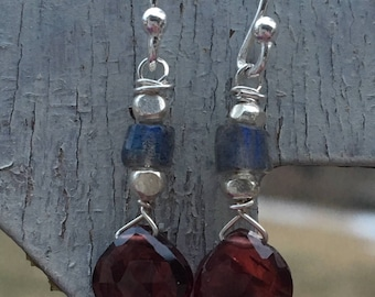 Labradorite & Garnet Earrings, Sterling Silver