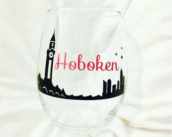 City of Hoboken skyline wine glass. Customize the colors!