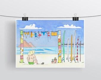 Beach bikini surfer girl artwork watercolour print