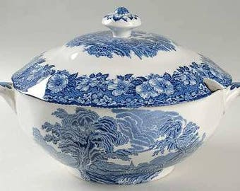 Soup Tureen, Woodland by Wedgwood Blue Floral Rim and Center Scenes, Scalloped, Blue & White China, Enoch Wedgwood Tunstall LTD