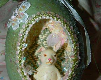 Handmade Sea foam Green Easter Egg Ornament, Peter Cotton Tale, White Bunny Rabbit, Eggs, Peeps, Decoupage, Beaded, Easter Glitter