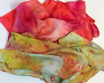 Tropical Playsilks or Scarves, Set of 2, 35x35 inch