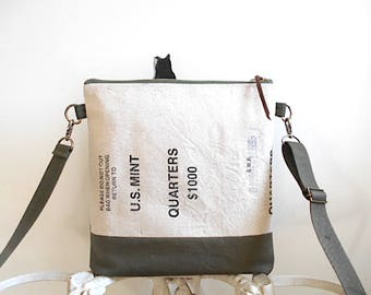 US Mint, military canvas crossbody, iPad bag - natural & olive drab - eco vintage fabr