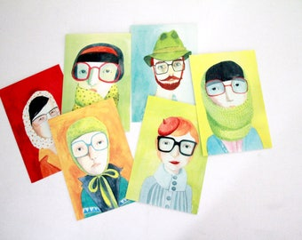 6  postcards, 6 portraits with glasses, card set, , home decor, wall decor, art print, kids wall art