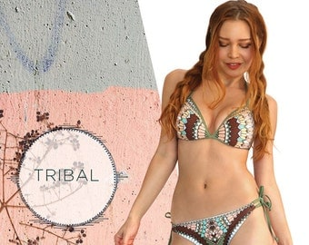 Bikini, bikini TOP, tribal pattern, swimwear, trinagle bikini, lightly padded, swimsuit, recycled material