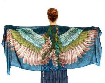 SALE Printed Аrt Scarf, Вird Feather Scarf, Bird Accessories, Boho Wedding, Alternative Bridesmaid Wrap, Festival Wear