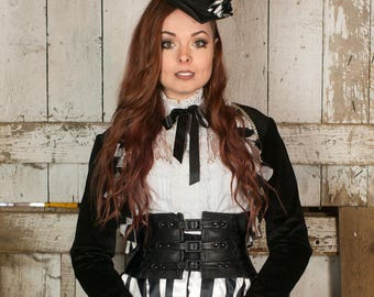 Exquisite Black Leather Steampunk / Pirate / Renn Faire Corset Belt / Waist Cincher -CUSTOM MADE to your size
