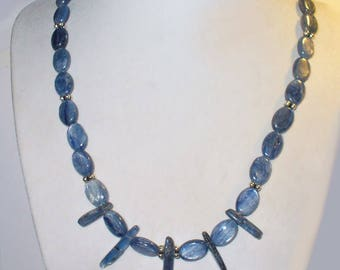 Natural Kyanite and Sterling Silver Bead Necklace