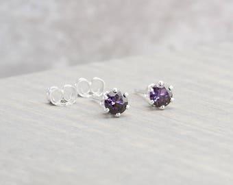 Sterling Silver Amethyst Stud Earrings - February Birthstone Earrings - 4mm Studs - February Birthday - Purple Earrings - Christmas Gift