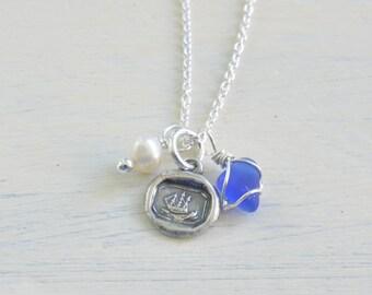 tiny ship wax seal, sea glass, pearl charm necklace trio - wax seal jewelry - eco friendly sea glass jewelry - nautical jewelry gift for her