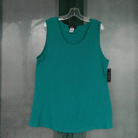 Yushi Bubble Tank -XL- Jade Green Textured Cotton/Poly/Spandex NWT