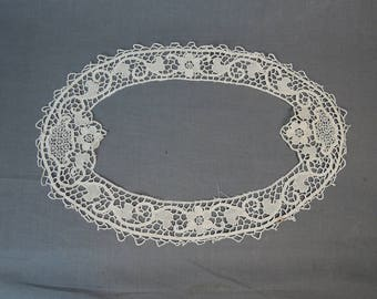 Vintage Handmade Tatted Lace Trim from Doily, Antique Lace Remnant