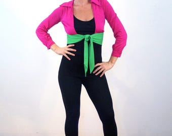 Karenza, 70s Hot Pink & Lime Green Top S XS, Mod Midriff Top, Tie Front Top, Bright Crop Top, 70s Disco Top, Color Block Top, Extra Small