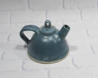 Sale SECONDS Teapot - round teapot - Ceramic teapot - Pottery Tea Pot - Blue Teapot - Tea Time - Tea Server - Breakfast Tea
