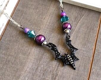 Large Black Bat Necklace - Elvira Gothic Necklace - Mistress of the Dark Vampire Jewelry - Halloween Necklace - Psychobilly -