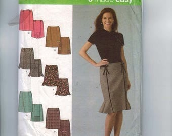 Misses Sewing Pattern Simplicity 4787 Misses Slim Knee Length Pencil Skirt with Kick Pleats Flare Size 6 8 10 12 UNCUT