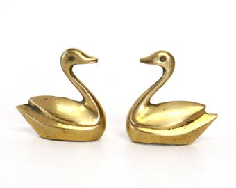 Pair of Small Brass Swan Figurines (Made in Pakistan)