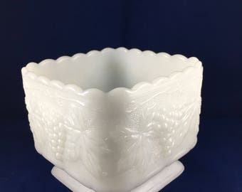 Milk glass square pedestal candy dish with scalloped edges