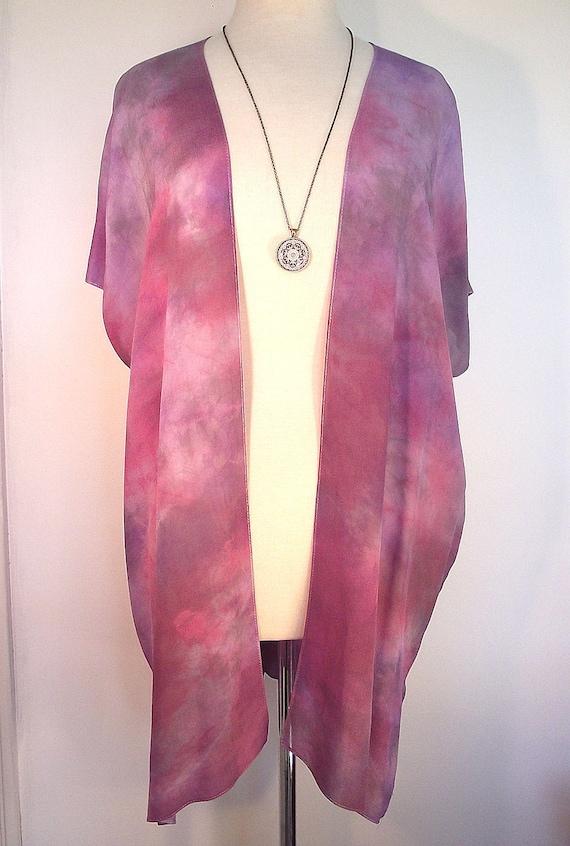 Silk Kimono - Hand Dyed Silk - Red and Grey Shibori in Elegant Silk Crepe -Size S-XL