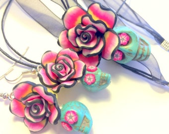 Sugar Skull Jewelry Set Turquoise, Black, and Pink Day of the Dead Sugar Skull Necklace and Earrings Set