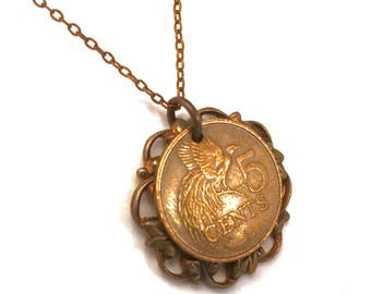 Trinidad and Tobago Greater Bird of Paradise coin necklace with vintage filigree, 1977