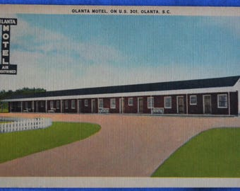 Olanta Motel SC South Carolina U S 301 Linen Postcard Unused