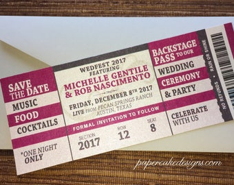 Concert Ticket Save The Date Or Invitation Diy Printable Pdf Wedding Birthday Shower Bat