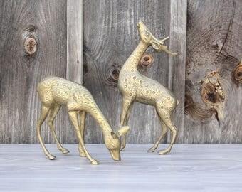 Large Brass Deer Pair